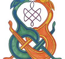 Entwined Celtic Knotwork Dogs by rachsymonds