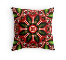 Fantasy Flower in Chrstmas colors Throw Pillow