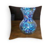 vace of blue beads Throw Pillow