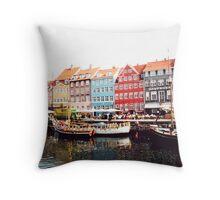 Canal Scene Copenhagen Denmark Throw Pillow