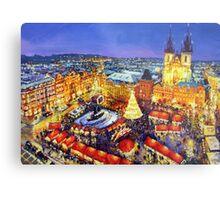 Prague Old Town Square Christmas market 2014 Metal Print