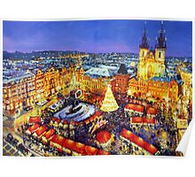 Prague Old Town Square Christmas market 2014 Poster