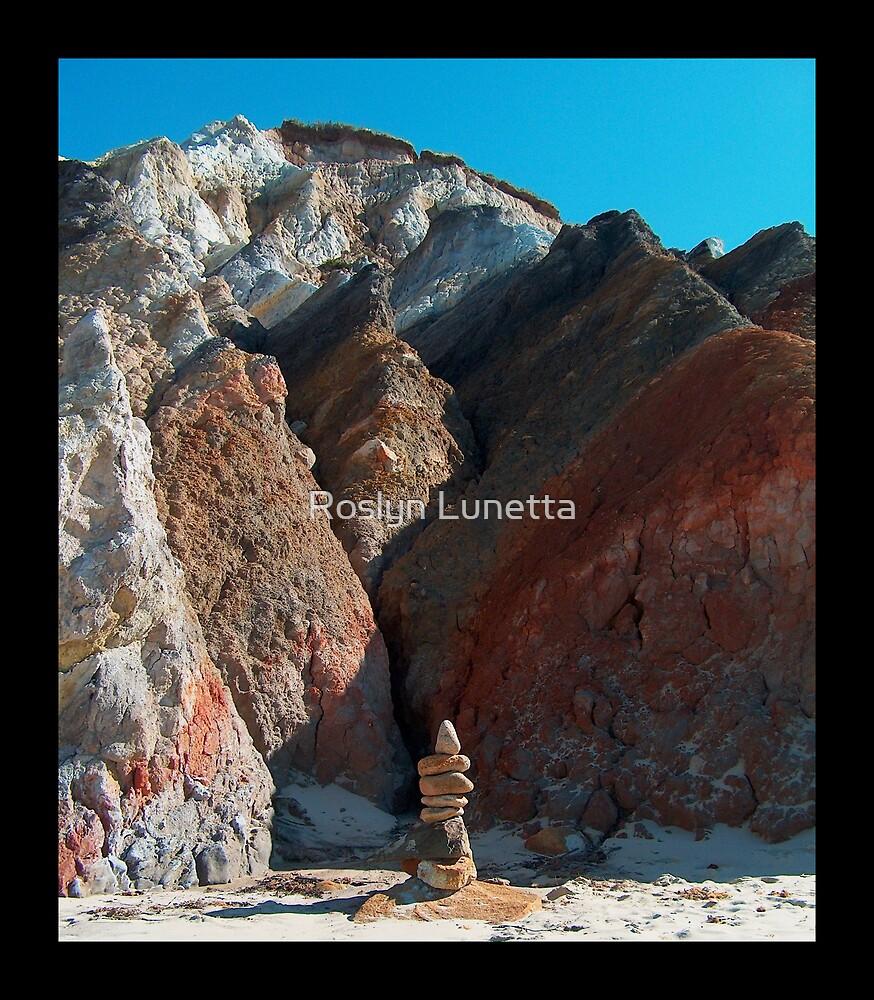 balanced rocks at the base of Aquinnah Cliffs by Roslyn Lunetta