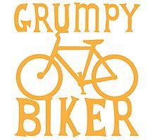 Grumpy BIKER! with bicycle Photographic Print