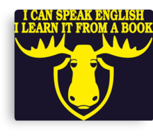 I Can Speak English, I Learn It From a Book Canvas Print