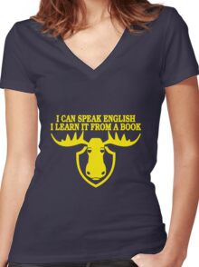 I Can Speak English, I Learn It From a Book Women's Fitted V-Neck T-Shirt