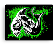 Feisty Fish Green and Black Canvas Print