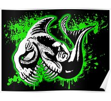 Feisty Fish Green and Black Poster