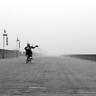 The lone cyclist by Ian  James