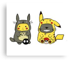 Totoro and Pikachu Onesies Canvas Print