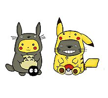 Totoro and Pikachu Onesies Photographic Print
