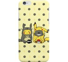 Totoro and Pikachu Onesies iPhone Case/Skin