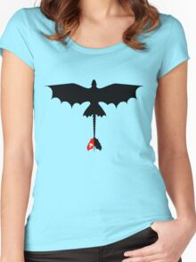 Toothless Silhouette Women's Fitted Scoop T-Shirt