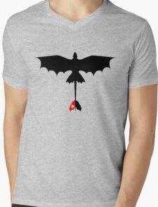 Toothless Silhouette Mens V-Neck T-Shirt