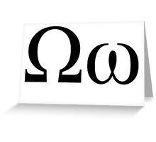Omega. Greek alphabet. Greeting Card