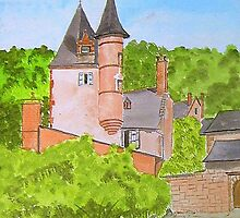 Chateau. { Water colour} by Irene  Burdell