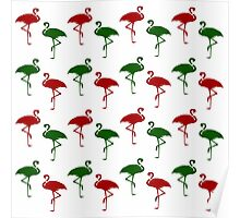 Flamingo Christmas Pattern Red Green Poster