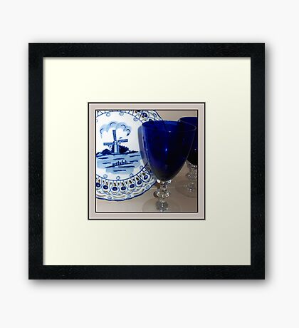 Delft Plate and Blue Goblets Framed Print