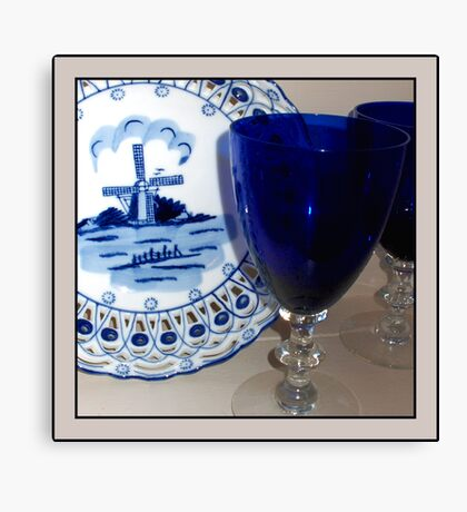 Delft Plate and Blue Goblets Canvas Print