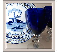 Delft Plate and Blue Goblets Photographic Print