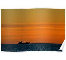 Freighter off Montevideo Poster