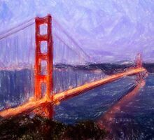 Golden Gate Bridge--Mixed Media Painting by Vintage Works