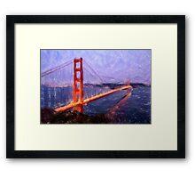 Golden Gate Bridge--Mixed Media Painting Framed Print
