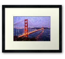 Golden Gate Bridge--Mixed Media Painting Framed Print