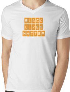 Black Lives Matter (Blocks Over Light Color) Mens V-Neck T-Shirt