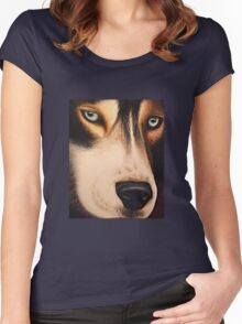 Wolf Portrait Women's Fitted Scoop T-Shirt