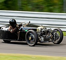 Vintage Morgan three wheeler on the track by Brian Ach