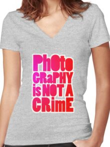 photography is not a crime 2.0 Women's Fitted V-Neck T-Shirt