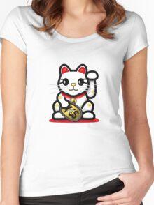 Maneki Neko - Money Cat - ¥€$ Women's Fitted Scoop T-Shirt
