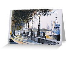 London drawing - Waterloo Bridge on the Embankment Greeting Card