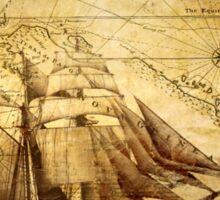 Antiques sailing map Sticker