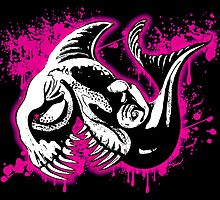 Feisty Fish Shocking Pink and Black by Sookiesooker