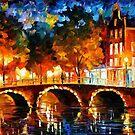 Amsterdam, Old Bridge — Buy Now Link - www.etsy.com/listing/213404917 by Leonid  Afremov