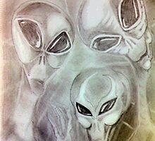 alien greys (pencils) by Martin Hoskins