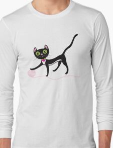 Cat with Yarn Long Sleeve T-Shirt