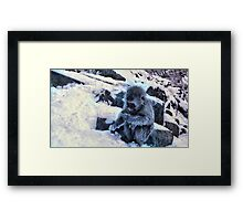 snow monkey checking facebook Framed Print