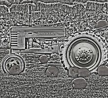 Chrome Style John Deere Tractor Farm Scene by Adri Turner