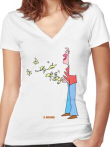 Bird Man Women's Fitted V-Neck T-Shirt