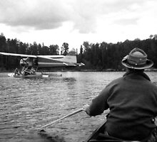 Paddling Toward the Beaver by James Lady