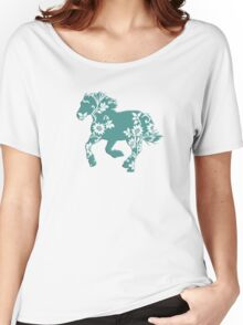 Horse Silhouette flowers Women's Relaxed Fit T-Shirt