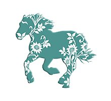 Horse Silhouette flowers Photographic Print