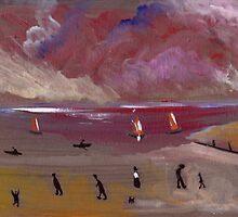Figures on a beach by sword