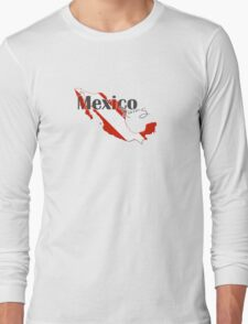 Mexico Diving Diver Flag Map Long Sleeve T-Shirt