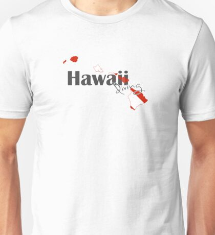 Hawaii Island Diving Diver Flag Map Unisex T-Shirt