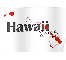 Hawaii Island Diving Diver Flag Map Poster