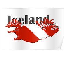 Iceland Diving Diver Flag Map Poster
